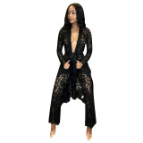 Casual Perspective Lace Cloak and Pant