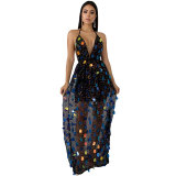 Casual Straps Backless Sequin Long Dress
