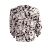 Newspaper Printed Dollar Women's Shirt Top