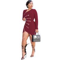 Casual Zipper Stitching Irregular Mini Dress