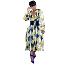 Casual Print Dyed Mid Shirt Dress