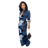 Casual Pocket Camouflage Jumpsuit with Wide Leg Pants