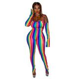 Colorful Stripes Split Straps Jumpsuits