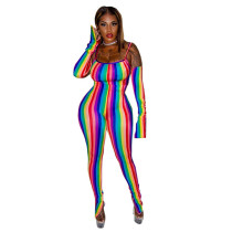 Colorful Stripes Split Straps Jumpsuits