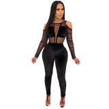 Sexy Cold Shoulder Mesh Stitching Jumpsuit