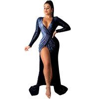 Sequins Long Sleeves V Neck Wrap Evening Dress