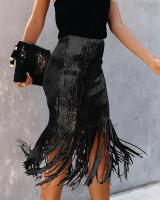 Sequins Fringe Party Long Skirt