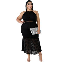 Plus Size Lace Mermaid Halter Dress