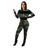 Casual Camouflage Print Stitching Sports Two-Piece Set