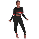 Solid Color Striped Sports Two Piece Set