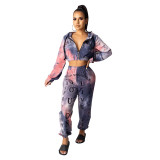 Casual Tie Dyed Letter Print Hooded 2 Piece Set