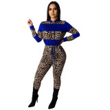 Casual Leopard Stitching Print Two Piece Set