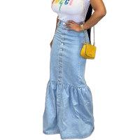 Stitching Denim Skirt