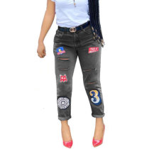 Retro Embroidered Hole Jeans