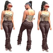PU Leather Pile Pants