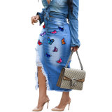 Hot Drilling Butterfly Embroidery Hole Denim Skirt