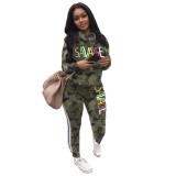Casual Camouflage Letter Sportswear