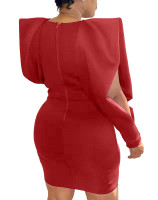 Casual Solid Color V Neck Hollow Lantern Sleeve Mini Dress