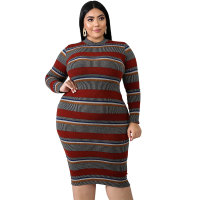 Plus Size Stripes Long Sleeve Bodycon Dress