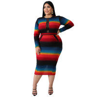 Plus Size Colorful Long Sleeve Print Midi Dress