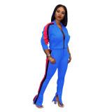 Casual Zipper Stitching Sportwear 2 Pcs Set