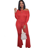 Solid Color Off Shoulder Trumpet Jumpsuit