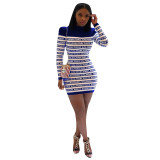 Casual Long Sleeve Letter Mini Dress