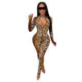 Casual Tiger Zipper Jumpsuit