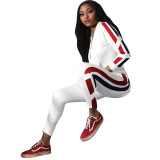 Casual Colorblock Stitching Sports Two Piece Suit