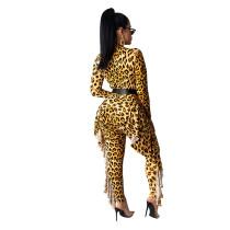 Casual Leopard Print Ruffled Jumpsuits