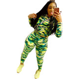 Camouflage Leopard Print Hooded Two Piece Set
