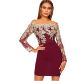 Embroidered Lace Off Shoulder Mini Dress