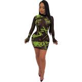 Casual Printed Mesh Nightclub Dress