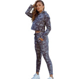 Camouflage Zipper Stitching Hooded Two Piece Set