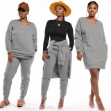 Solid Color Long Sleeve Sweatshirt and Trousers