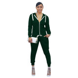 Casual Sport Hooded Top and Trousers