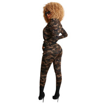 Casual Camouflage Burning Flower Two-piece Set