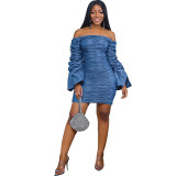 Casual Off Shoulder Pleated Trumpet Sleeve Denim Mini Dress