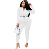 Casual Ruffled Air Layer Office Two Piece Uniform