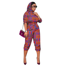 Casual African Print Totem Jumpsuit with Scarf