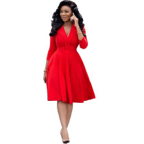 Solid Color Deep V Pleated Midi Dress