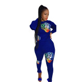 Stitching Embroidery Tiger Head Sports Two Piece Set