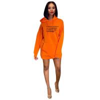 Casual Letter Velvet Hooded Sweatshirt Dress