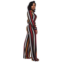 Colorful Striped Jumpsuit with Belt