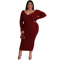 Plus Size Knitting V Neck Long Dress