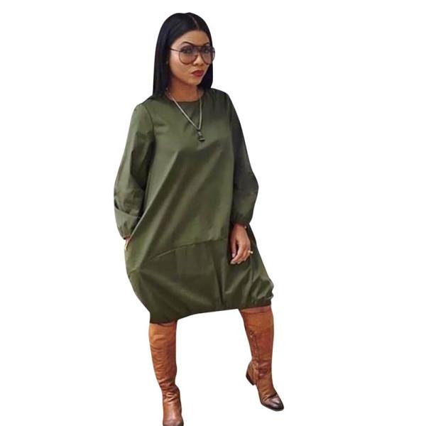 Solid Color Long Sleeve Midi Dress