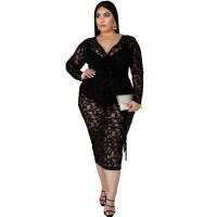 Plus Size Black Mesh Wrap Party Dress