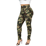 Casual Hole Burnt Flower Camouflage Sports Trousers