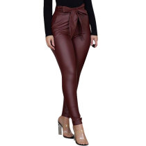 Casual PU Leather Pants with Belt