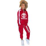 Casual Print Splicing Hooded Sports Women Set